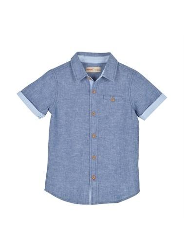 Silversun Kids Erkek Çocuk Kısa Kollu Cep Detaylı Dokuma Gömlek Gc 215409 Mavi